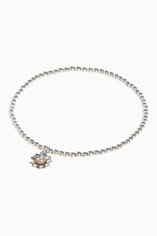 Silver Tone 'Just For You' Daisy Bracelet