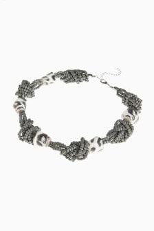 Grey Animal Print Beaded Necklace