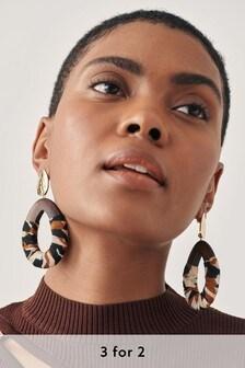 Animal Print Wooden Statement Drop Earrings