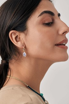 Blue/White Printed Bead Earrings