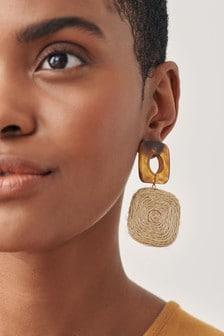 Natural Raffia Drop Earrings