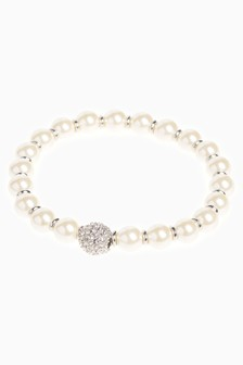 Pearl Pavé Crystal Effect Stretch Bracelet