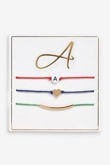 Multi Initial Friendship Bracelets 3 Pack