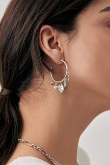 Silver Tone Charm Hoop Earrings
