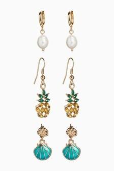 Gold Tone Tropical Earrings 3 Pack