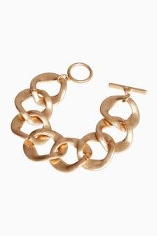 Gold Tone Chunky Chain T-Bar Bracelet