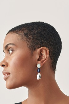 Blue/Silver Tone Resin Drop Earrings