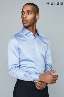 Reiss Mid Blue Remote Cotton Satin Slim Fit Shirt