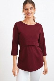Red Maternity Organic Cotton Blend Nursing Layer Top