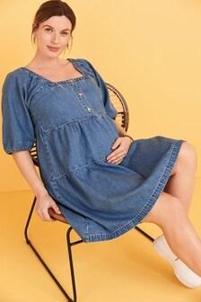 Mid Blue Maternity/Nursing Denim Tier Mini Dress