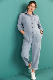 Mid Blue Maternity Denim Boilersuit