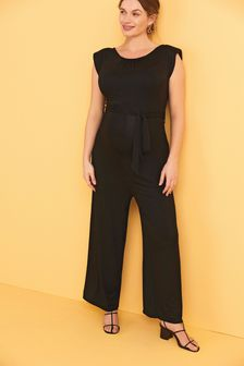Black Maternity Shoulder Pad Jumpsuit