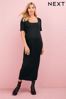 Black Maternity Organic T-Shirt Dress