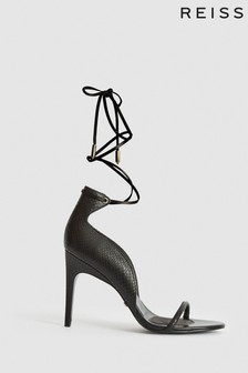 Reiss Black Coco Leather Strappy Wrap Sandals