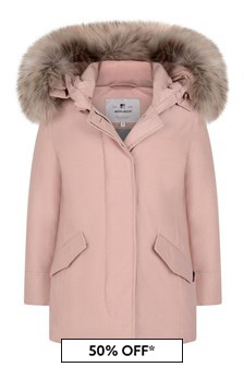 Girls Pink Down Padded Arctic Parka Coat