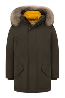 Boys Green Down Padded Polar Parka Coat