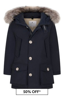 Boys Navy Down Padded Arctic Parka Coat