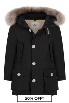 Boys Black Down Padded Arctic Parka Coat