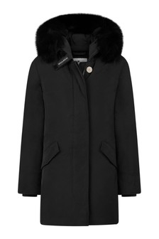 Girls Black Down Padded Arctic Parka Coat