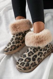 Natural Animal Felt Boot Slippers
