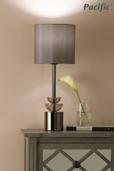 Pacific Smoke Glass & Pewter Tall Desk Lamp