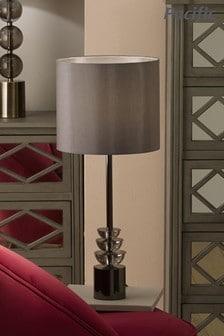 Pacific Smoke Glass & Silver Metal Starburst Desk Lamp
