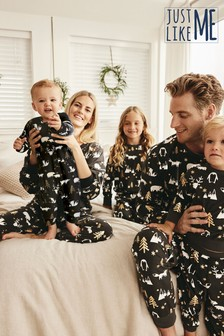 Black/White Moose Matching Family Kids Christmas Pyjamas (9mths-16yrs)