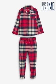 Red Check Older Button Through Matching Family Kids Christmas Pyjamas (3-16yrs)