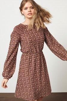 Chocolate Brown Ditsy Fochette Long Sleeve Dress