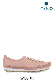 Pavers Pink Ladies Leather Lace-Up Trainers