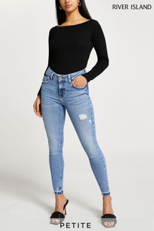 River Island Petite Light Blue Amelie Ripped Mid Rise Jeans