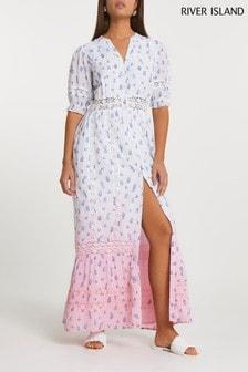 River Island Pink Ditsy Lace Tie Dye Dress