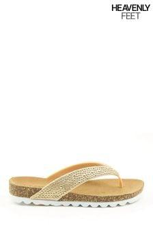 Heavenly Feet Ladies Toe Post Diamanté Sandals