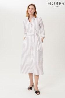 Hobbs White Ciara Linen Dress