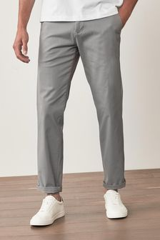 Light Grey Straight Fit Stretch Chino Trousers