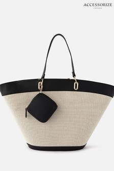 Accessorize Curved Tote Bag With Purse