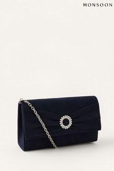 Monsoon Blue Crystal Trim Occasion Clutch Bag