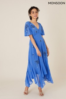 Monsoon Blue Amira Embellished Hanky Hem Dress