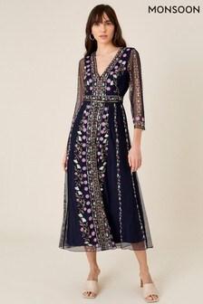 Monsoon Blue Amara Embroidered Midi Dress