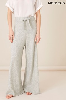 Monsoon Grey Wide-Leg Knit Lounge Trousers