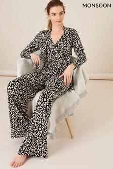 Monsoon Black Amelia Animal Print Jersey Jumpsuit
