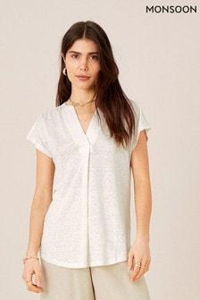 Monsoon Natural Split T-Shirt In Pure Linen