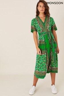 Monsoon Green Raegan Heritage Print Wrap Dress