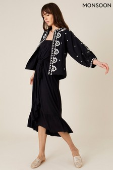 Monsoon Black Plain Midi Bandeau Dress