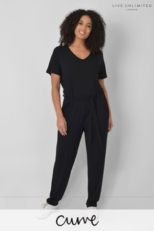 Live Unlimited Curve Black Jersey Jumpsuit