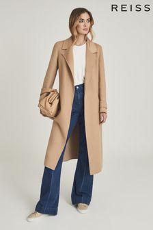 Reiss Tan Leah Wool Blend Longline Overcoat