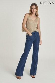 Reiss Gold Amanda Metallic Knitted Top