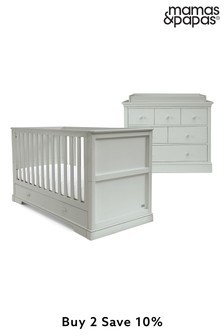 Grey Mamas & Papas Oxford 2 Piece Cot Bed Set with Dresser