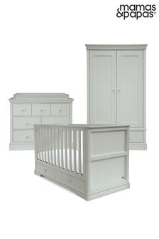 Grey 3 Piece Mamas & Papas Oxford Cot Bed Range with Dresser and Wardrobe