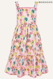 Monsoon Pink Painterly Floral Dress In Organic Cotton